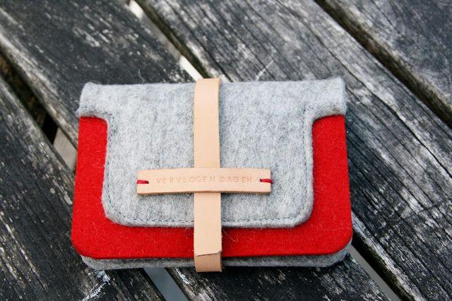 felt and leather wallet by vervlogen dagen