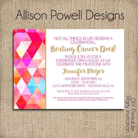 Beating Cancer Invitation No More Chemo Celebration Cancer