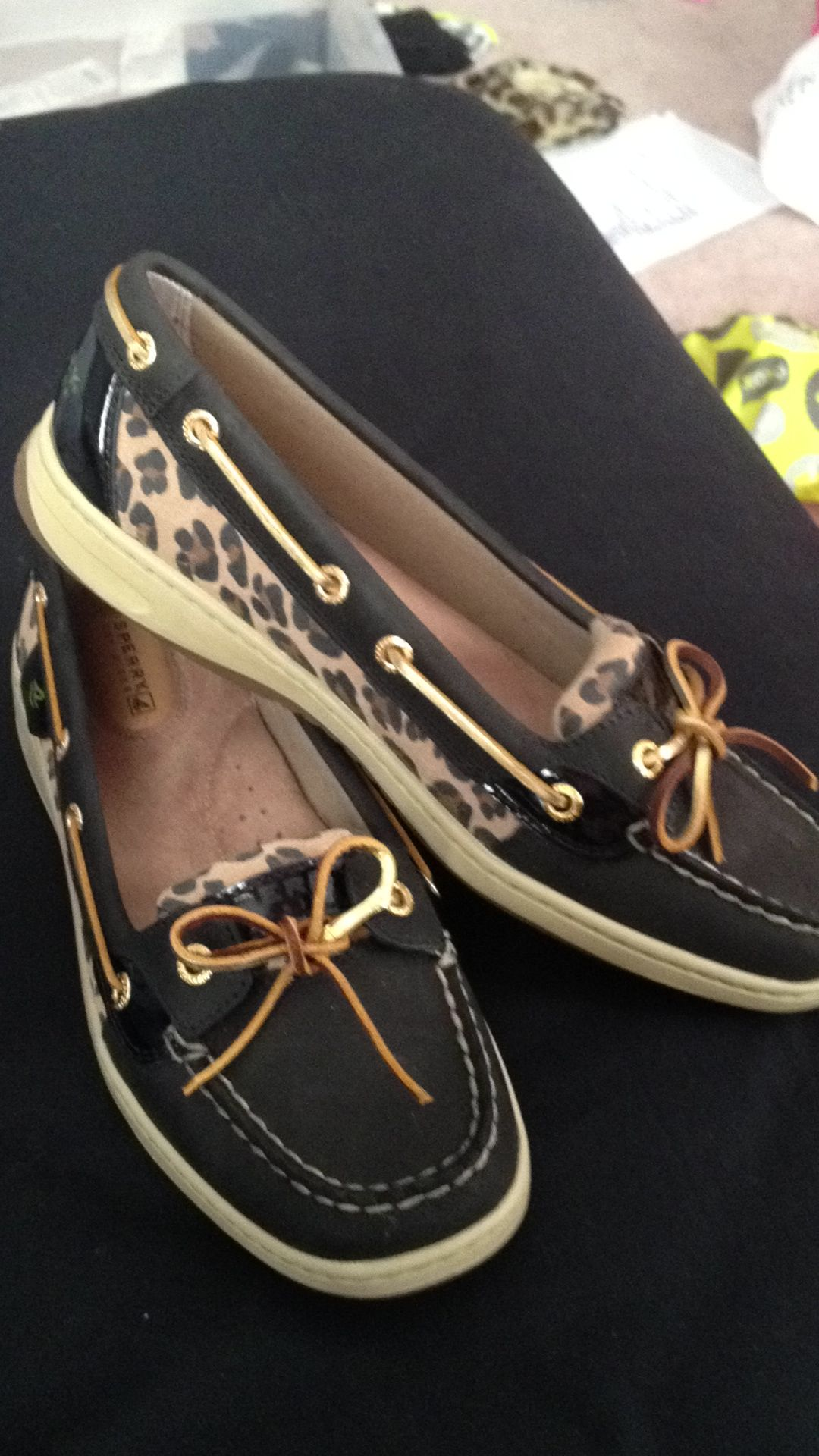 ad0081757c Sperry topsiders with cheetah print.