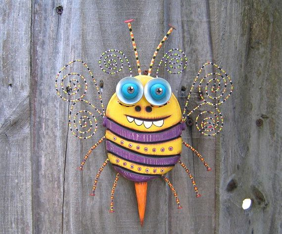 Bee Nice, Original Found Object Sculpture, Wall Art, Wood Carving, Wall Decor, Animal Sculpture, by Fig Jam Studio