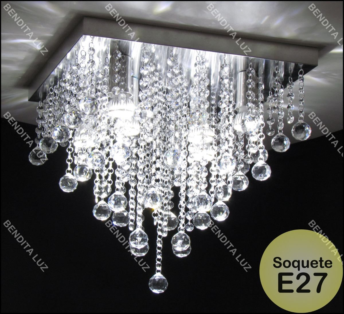 lustre plafon de cristal acrílico a44 base inox 40x40cm e27 ...
