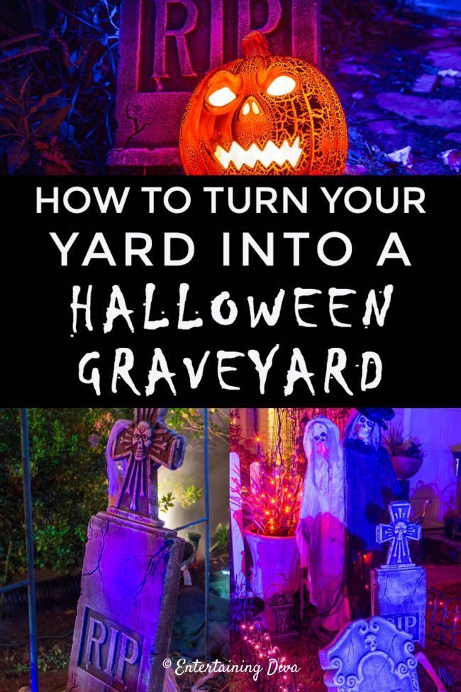 Find out how to create a Halloween cemetery for your yard haunt. All kinds of ideas for Halloween outdoor decorations.   Halloween Decor