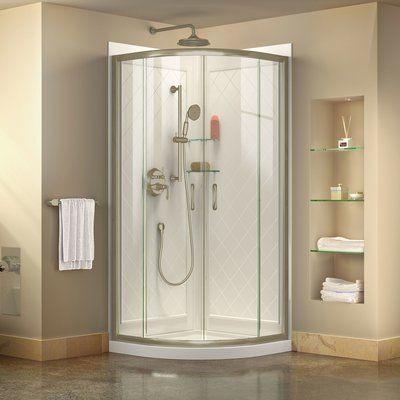 Dreamline Prime 38 X 76 75 Round Sliding Shower Enclosure With Base Included Corner Shower Kits Shower Enclosure Frameless Shower Enclosures
