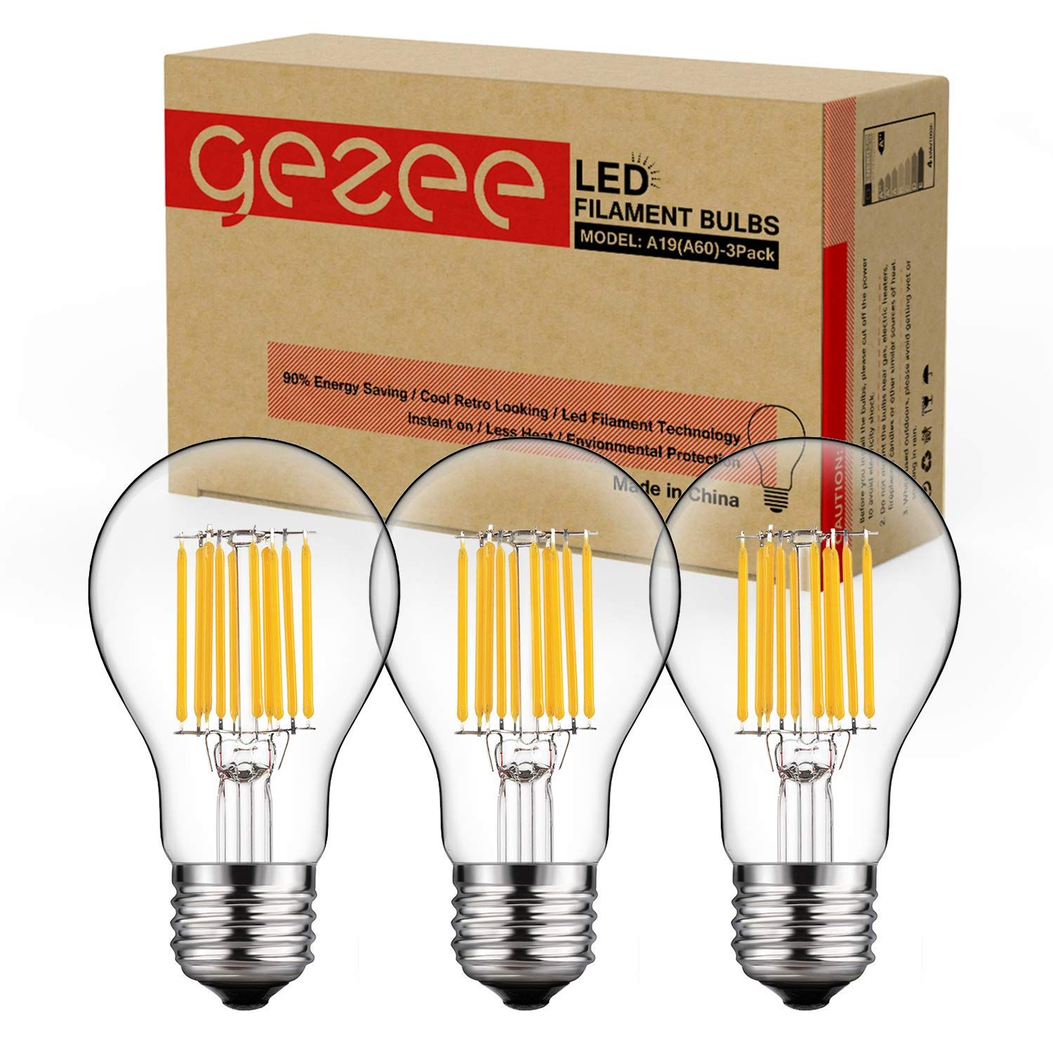 Gezee 10w Edison Style Vintage Led Filament Light Bulb 100w Incandescent Replacement Warm White 27 Filament Bulb Lighting Filament Lighting Vintage Light Bulbs