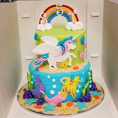 Mermaid And Unicorn Birthday Cake
