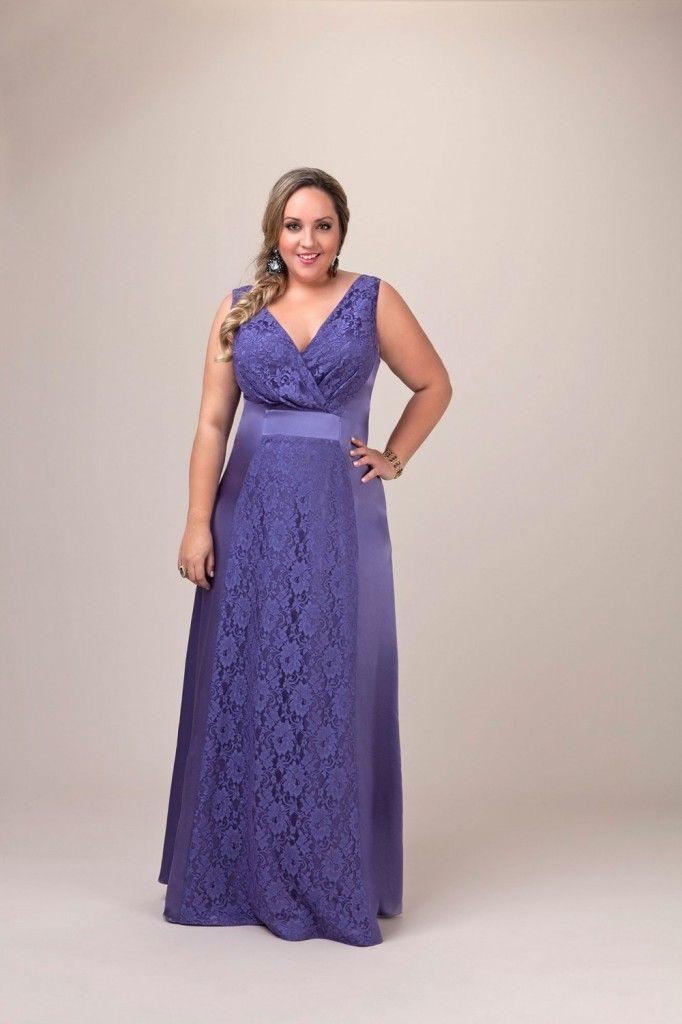 Vestidos de Renda Longo Plus Size Para Formatura Azul Marinho 1 ...