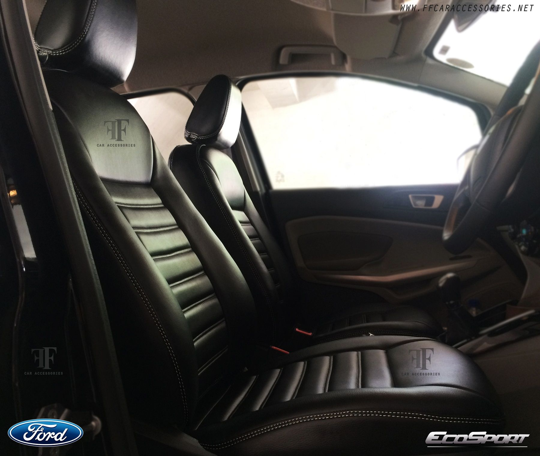 Ford ecosport seat cover with detailed white stitch by team ff car accessories chennai