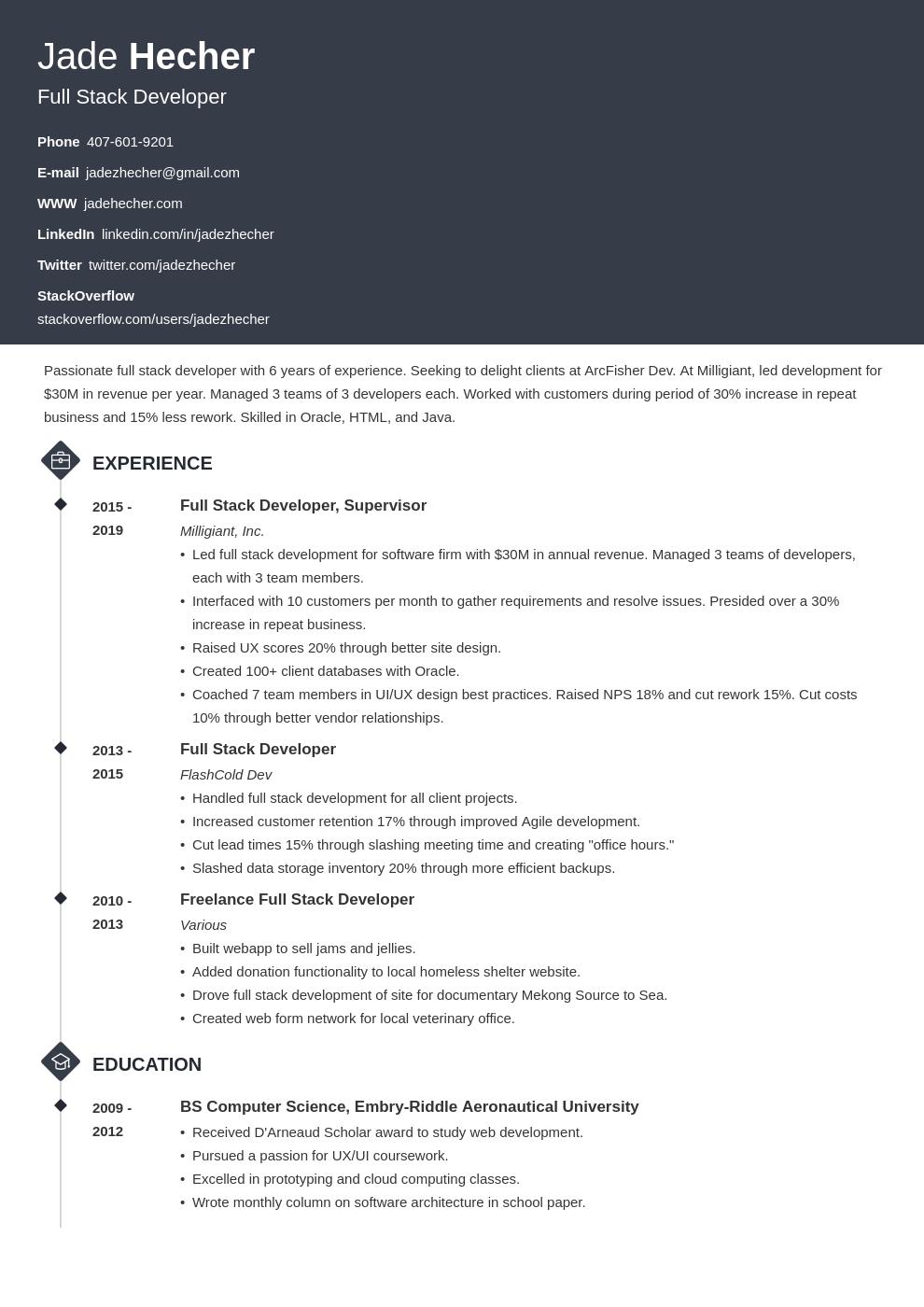 Resume Full Stack Developer Template Diamond Web Developer Resume Resume Examples Job Resume Examples