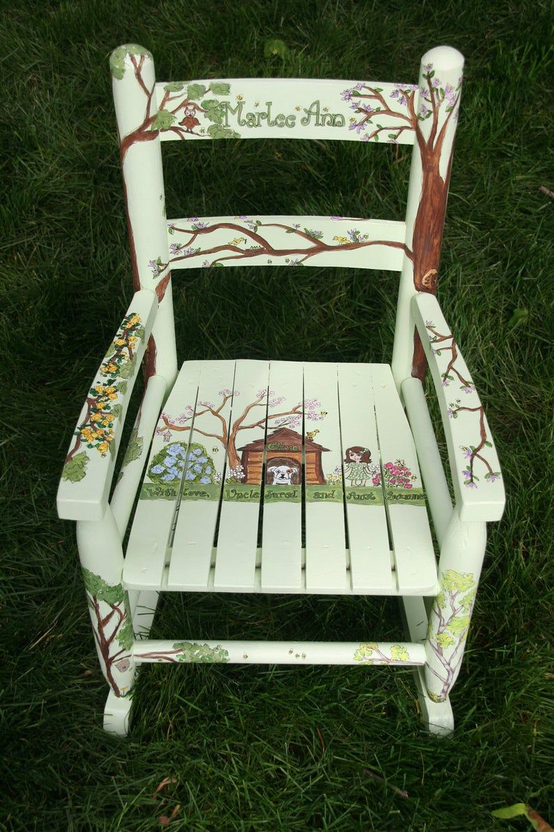 Custom hand painted childs rocking chair with up to two