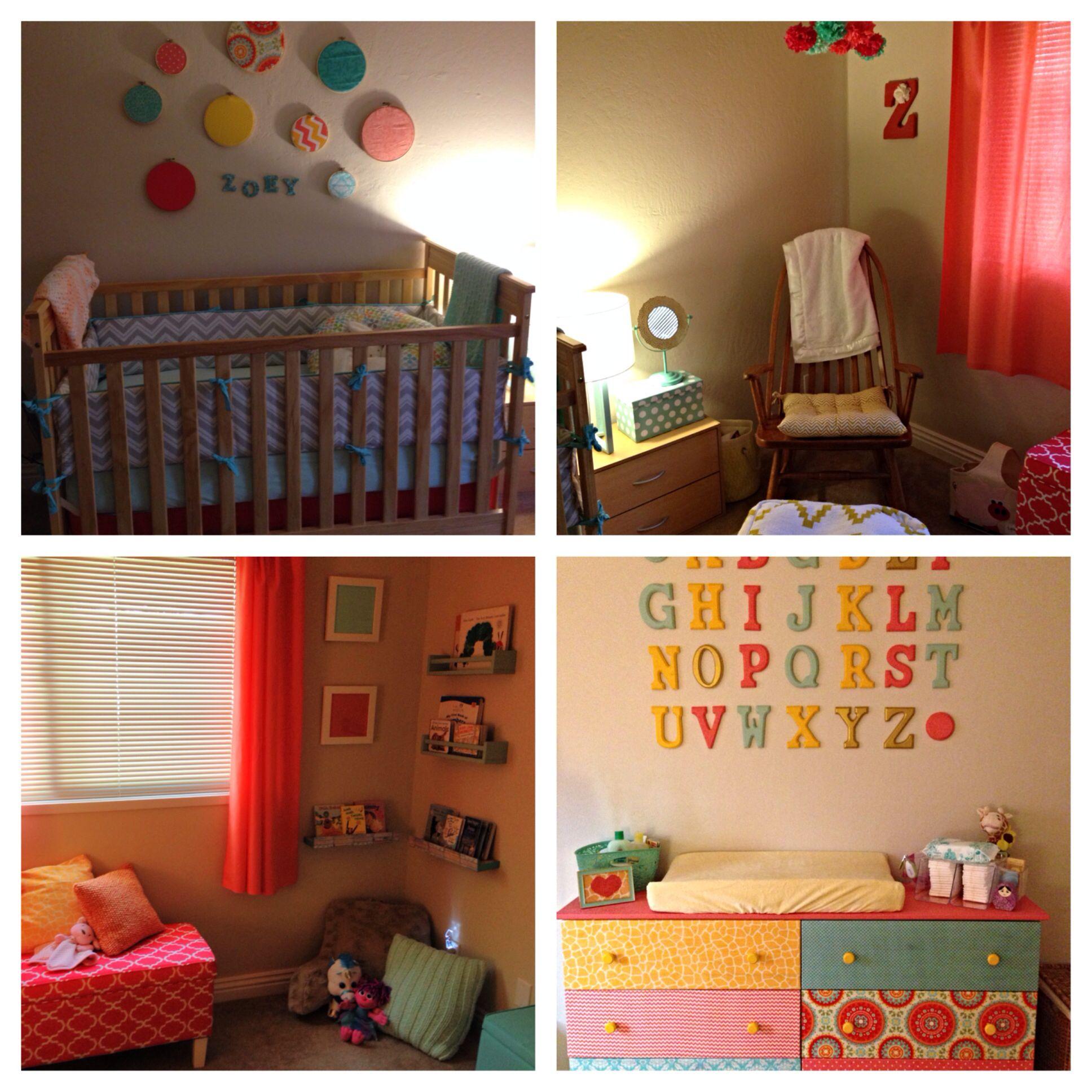 Diy Nursery Mint Coral Yellow Garden Toddler Bed