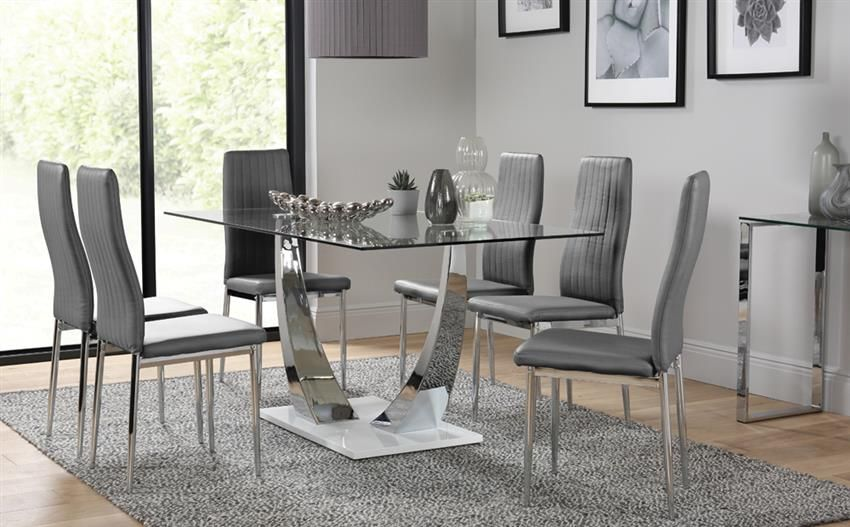 Peake Glass And Chrome Dining Table White Gloss Base With 6