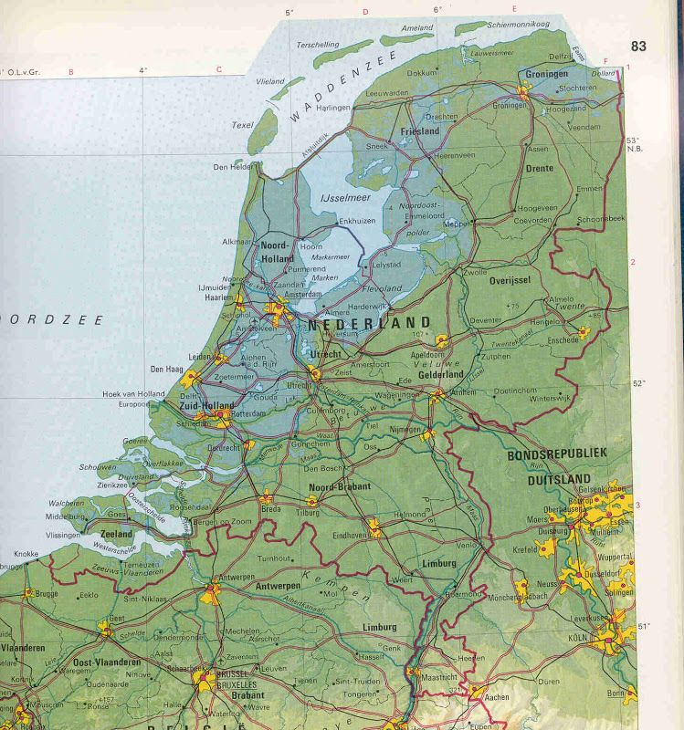 Physical Map of the Netherlands Maps Cartography mappe mapa