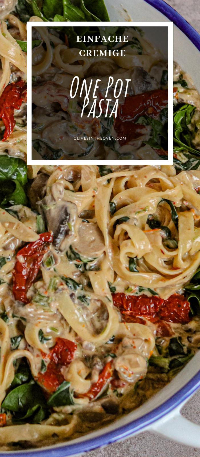 One Pot Pasta Mit Tomaten, Pilzen Und Spinat