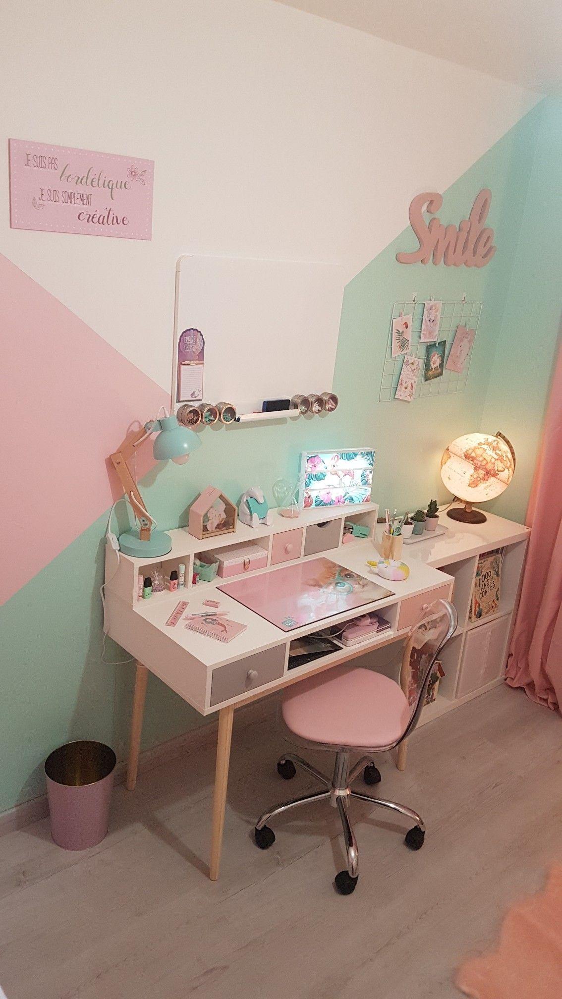 Chambre De Ma Fille Bureau Et Smile Maison Du Monde Chaise Conforama Lampe P En 2020 Design Chambres De Fille Deco Chambre Mixte Deco Chambre Fillette