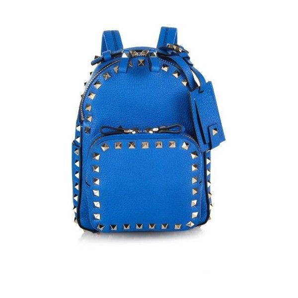 0e71fe4c52 VALENTINO Rockstud leather mini backpack ($2,175) ❤ liked on Polyvore  featuring bags, backpacks, light blue, light blue bag, mini backpack,  leather ...