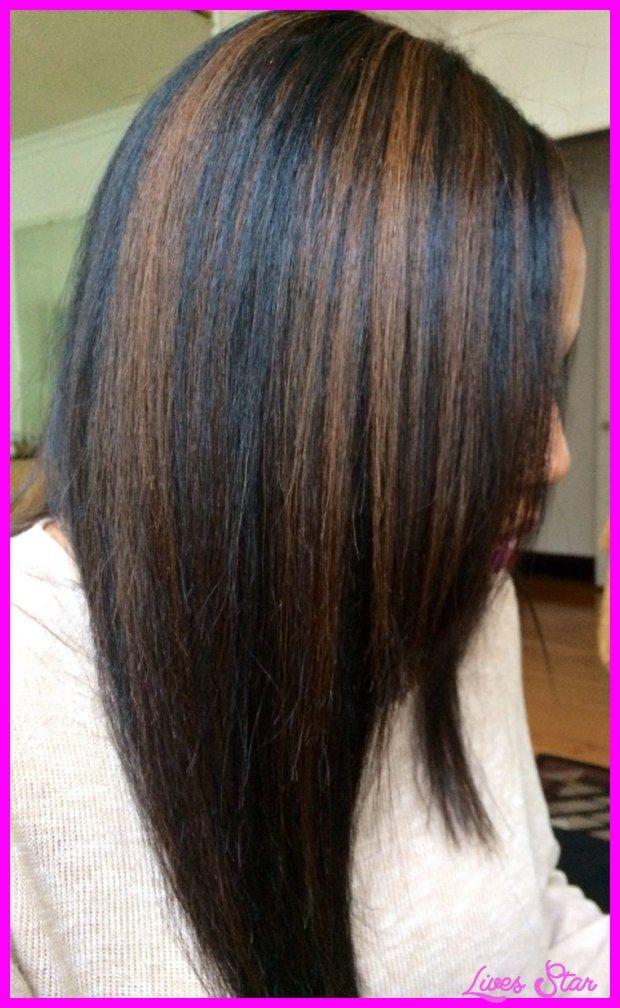 cool Black hair caramel highlights