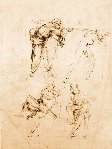 Study Of A Man Blowing A Trumpet In Another\'s Ear And Two Figures In ...