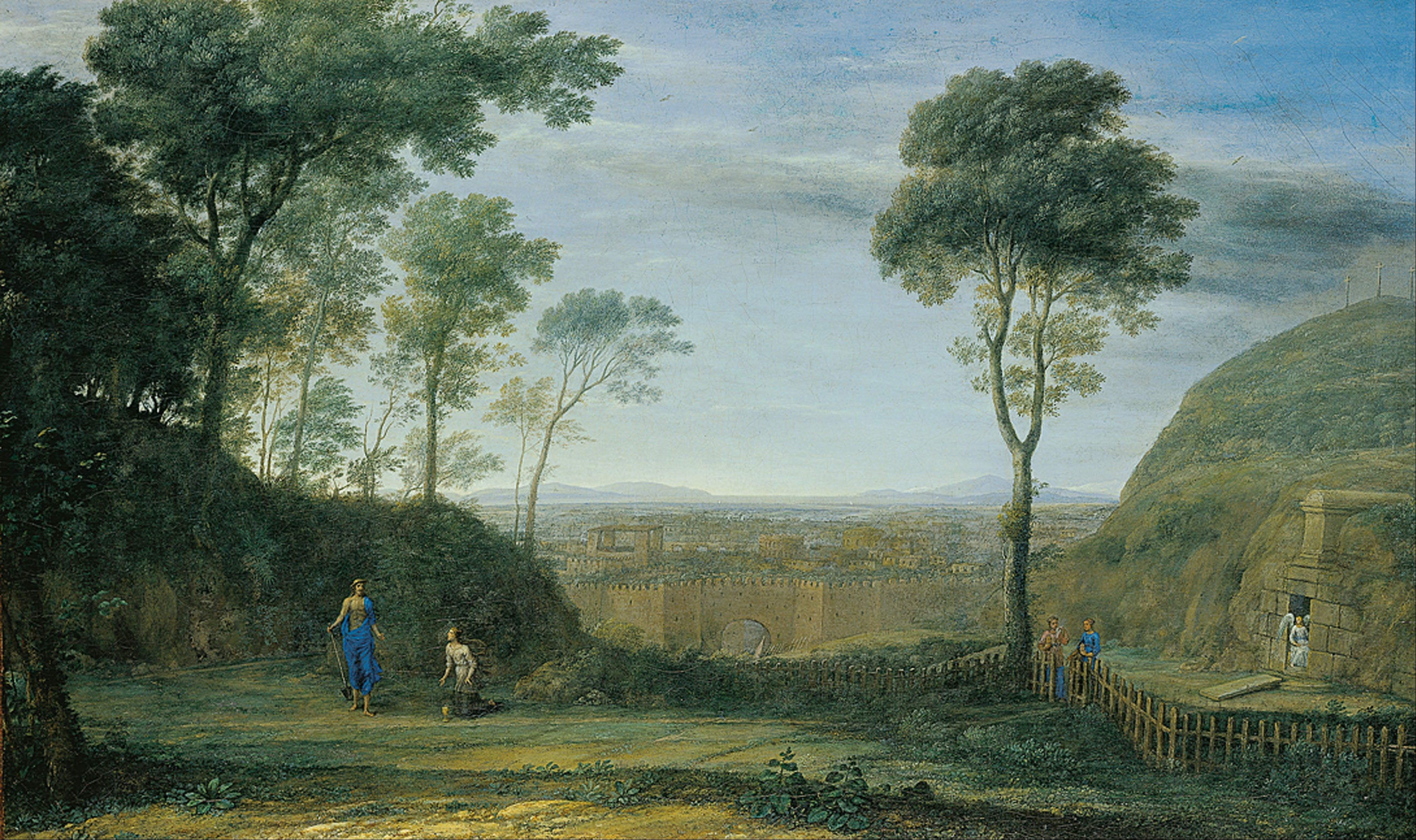 "Claude Lorrain (1604/1605–1682) ""Landscape with Christ appearing to St. Mary Magdalene (""Noli me tangere"")"" Date 1681 Dimensions: w141.1 x h84.9 cm Städel Museum"