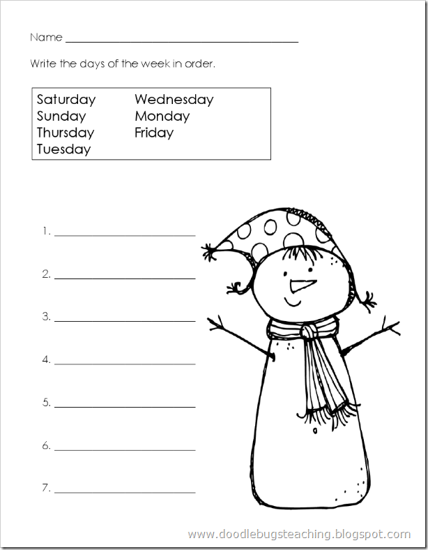 Printable Worksheets tacky the penguin worksheets : Snowman Days of the Week Paper - Re-pinned by @PediaStaff – Please ...