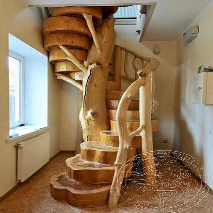 William S Woodworks Wood Stairs: Marche En Rondins