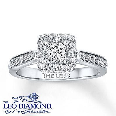 leo engagement ring 3 4 ct tw diamonds 14k white gold
