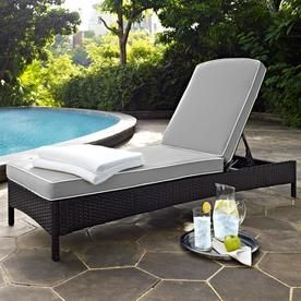 Crosley Furniture Palm Harbor Wicker Steel Chaise Lounge ...