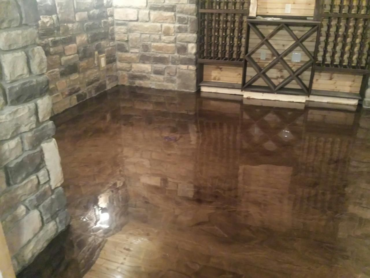 Brown mocha metallic marble epoxy flooring troy mi for Epoxy flooring