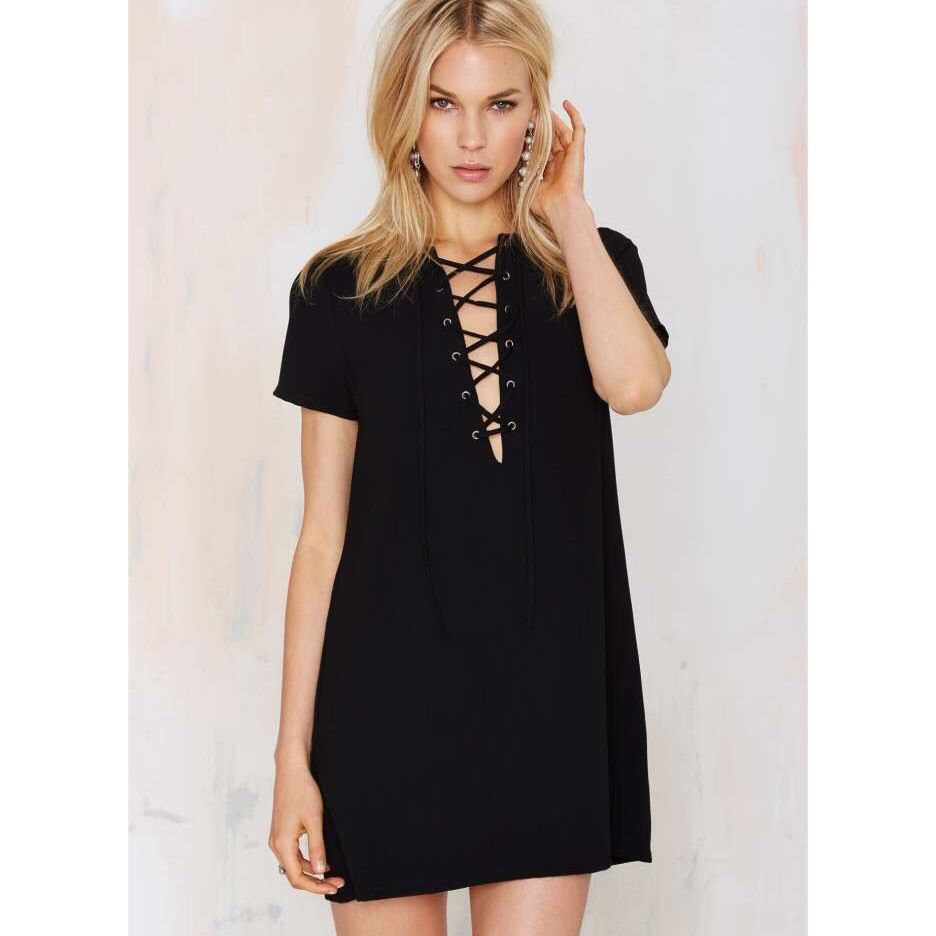 Nasty gal lace up short sleeved dress products