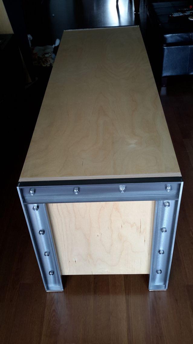 Audio vid o cabinet steel birch plywood mueble for Muebles industriales metal baratos