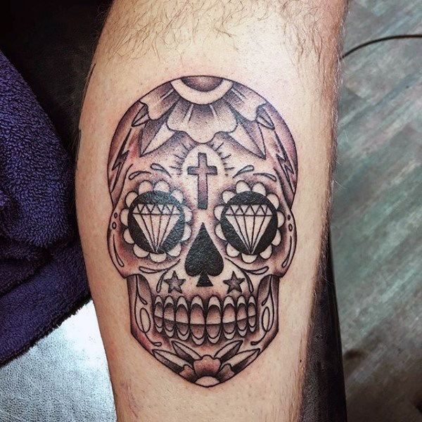 Mexican Sugar Skull Tattoo For Guys On Inner Forearm Candy Skull Tattoo Sugar Skull Tattoos Mexican Skull Tattoos