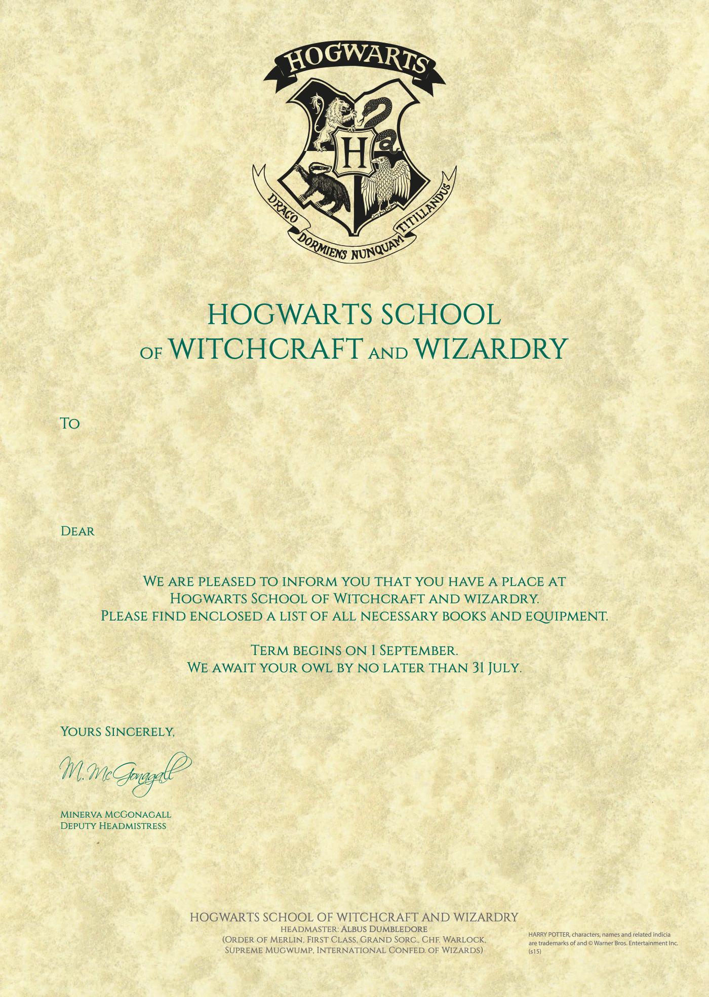 harry potter letter template  Pin by Meg Pearce on potter | Hogwarts acceptance letter ...