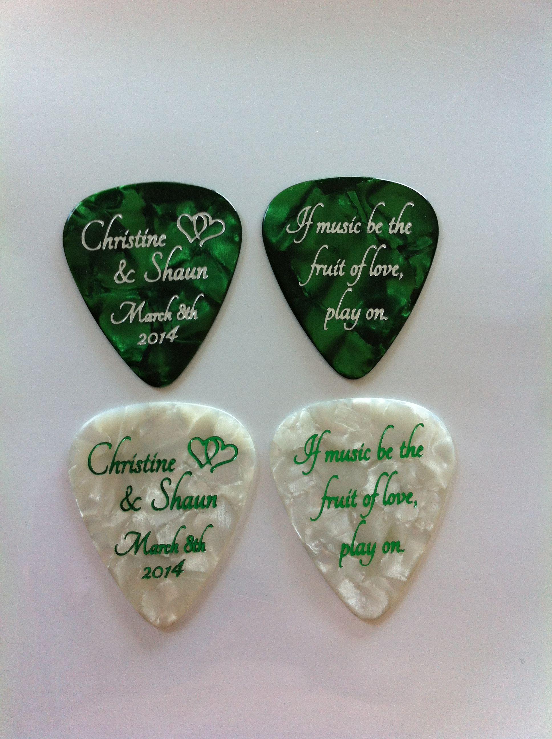 Custom Guitar Picks For Weddings Egopicks Favors