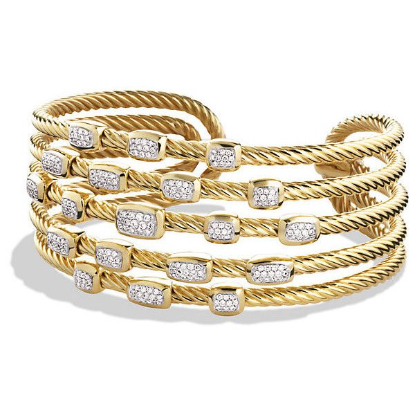 13eac5559 David Yurman Confetti Wide Cuff Bracelet with Diamonds in Gold (687,155  PHP) ❤ liked on Polyvore featuring jewelry, bracelets, diamond, gold diamond  ...