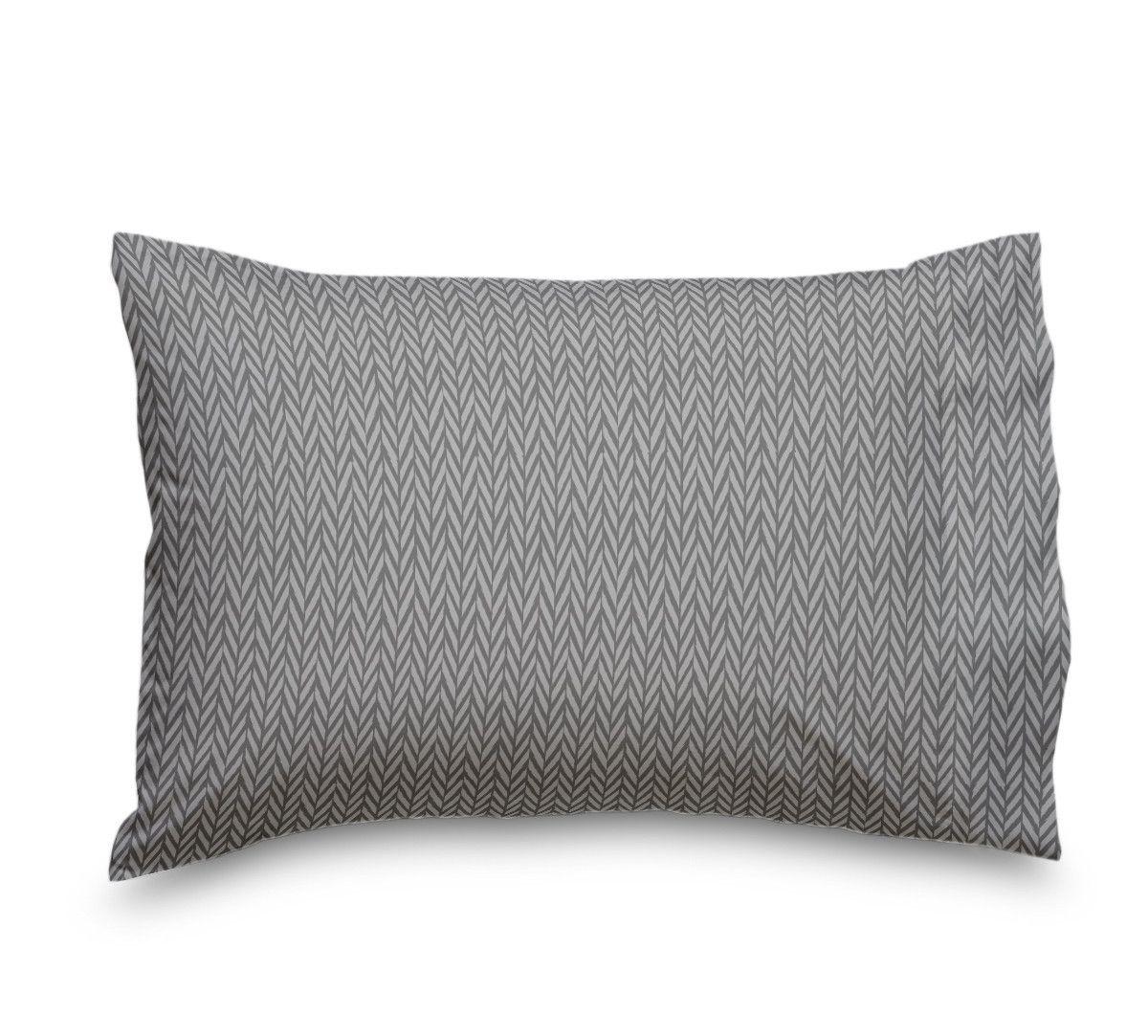 Grey Herringbone Double Brushed Microfiber Duvet Cover
