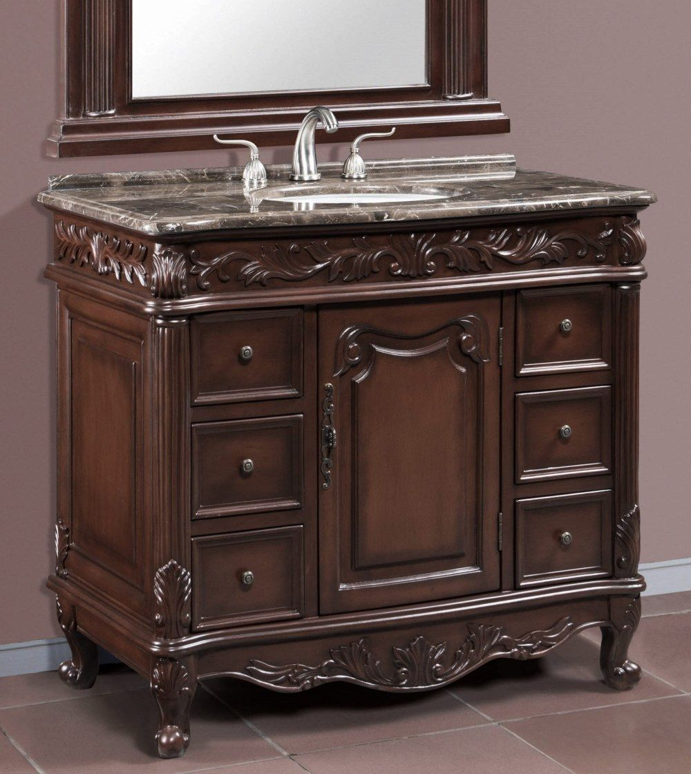 Item 2840 Single Sink Bath Vanity Cabinet With Brown Grey Patchwork Marble Top 1 25 39 Traditional Bathroom Vanity Bathroom Vanity 20 Inch Bathroom Vanity