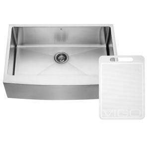 Vigo Farmhouse Apron Front Stainless Steel 33 in. Single Bowl Kitchen Sink VGR3320C at The Home Depot - Mobile