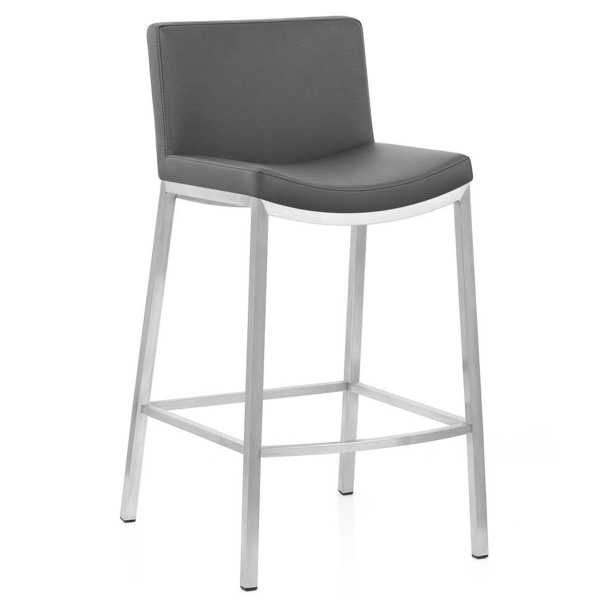 Tabouret De Bar Design Simili Cuir Gris Capone Mdt Tabouret De Bar Design Tabouret Et Chaise Bar