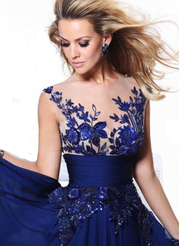 Ramonala Lange Abendkleider Partykleider Cocktail Damen Kleider Festlich Lang Elegant Spitze Blau: Amazon.de: Bekleidung
