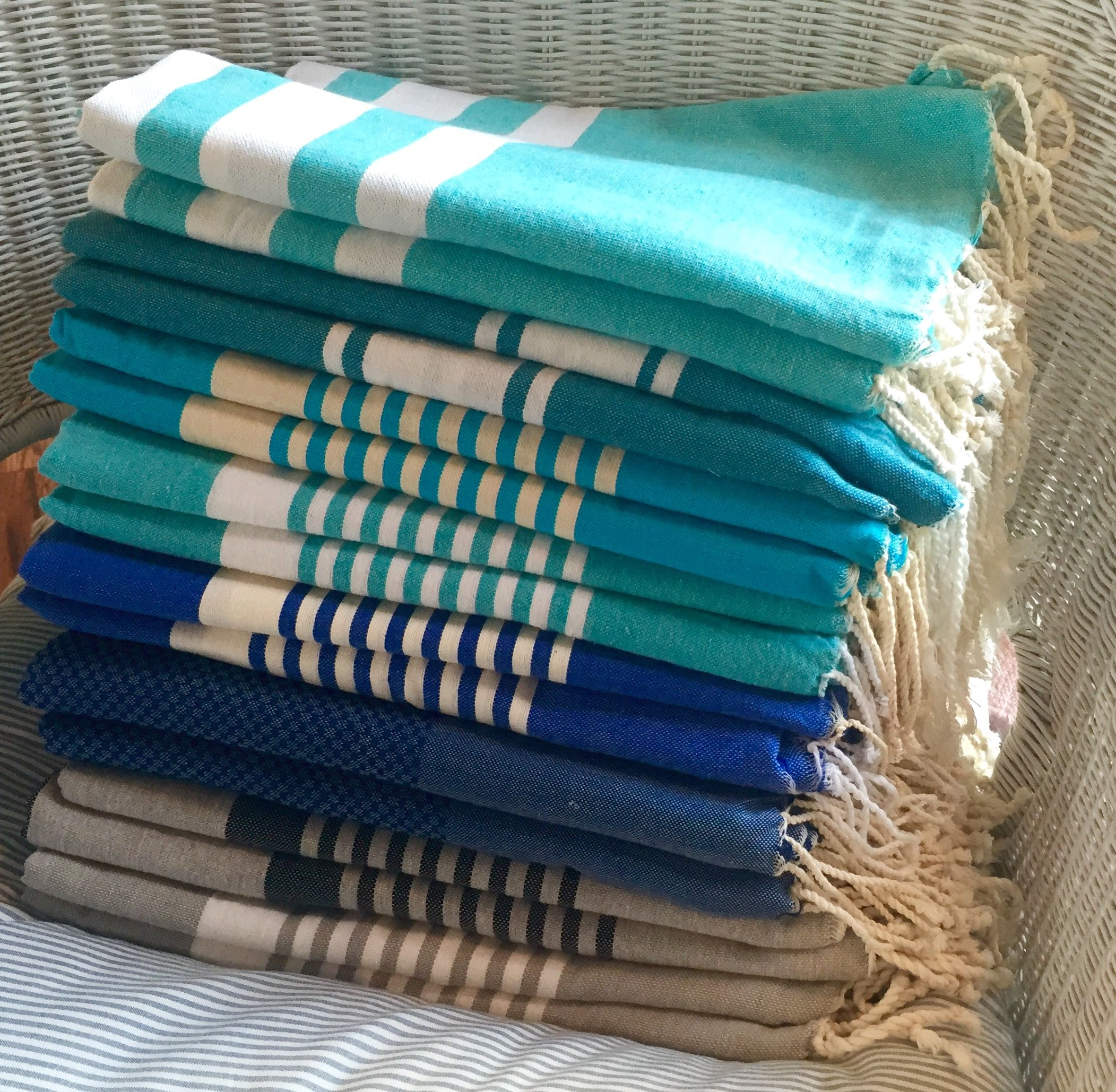 Turkish Fouta Towels In Blue Coastal Colors From Pacific U0026 Rose. Perfect  For Bath,