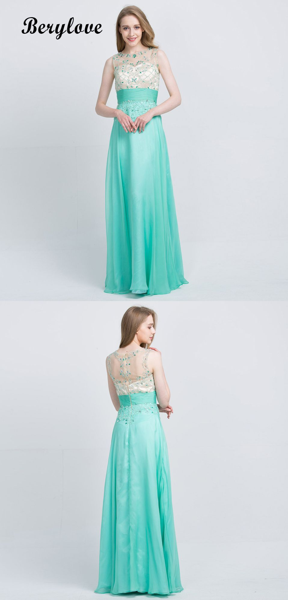 Long minit green beaded tulle prom dresses promdresses