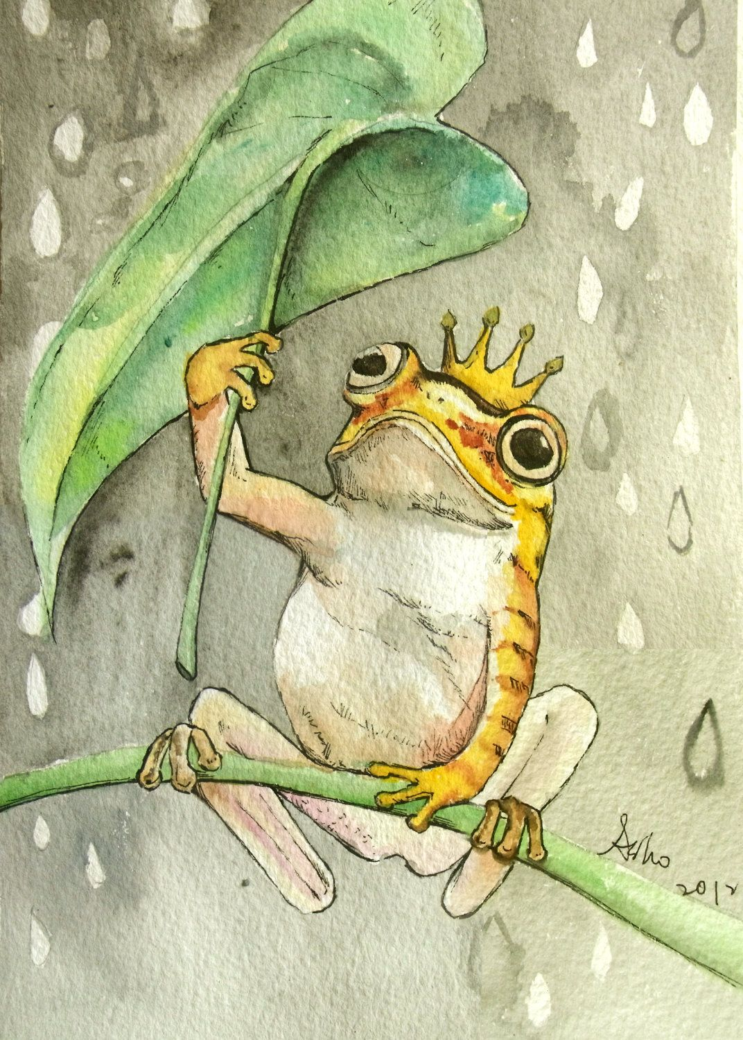 Original Frog Watercolor Painting -5 x 7 | D1, Nursery and Bb