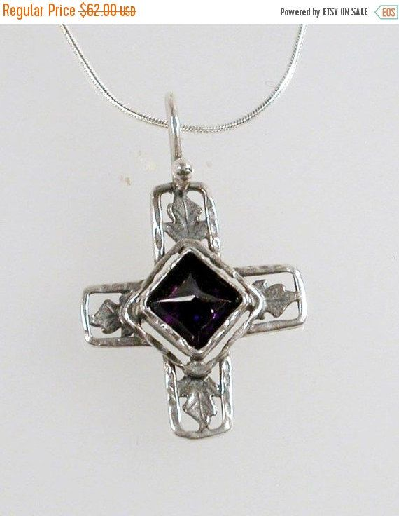 ON SALE Sterling Silver Necklace Cross Amethyst Necklace