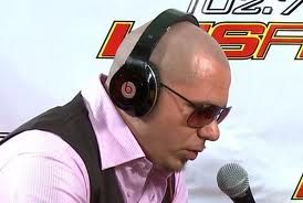 Pitbull wearing Dre Beats Headphones