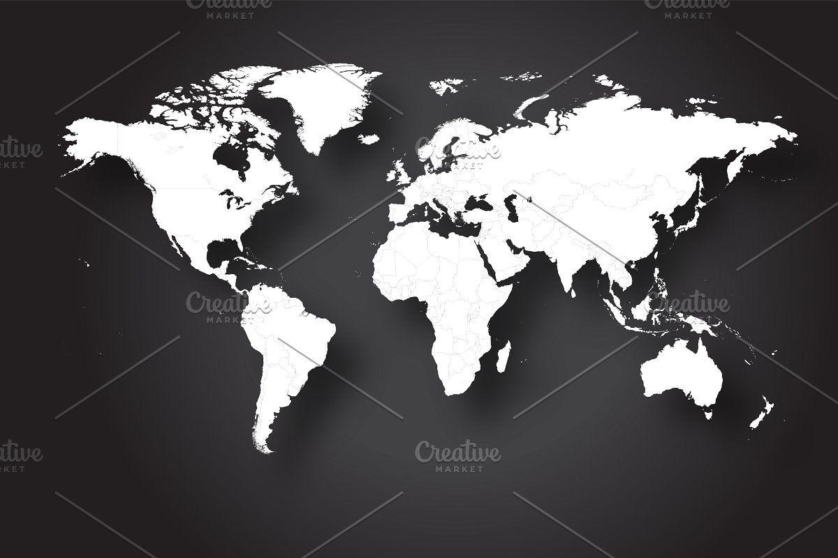 world map vector flat white | map vector, world map, detailed world map  pinterest