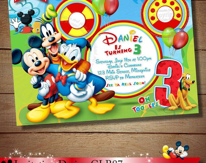 Mickey Mouse Clubhouse Invitation, Mickey Birthday Invitation, Clubhouse  Mickey, Personalized Mickey Invitation,