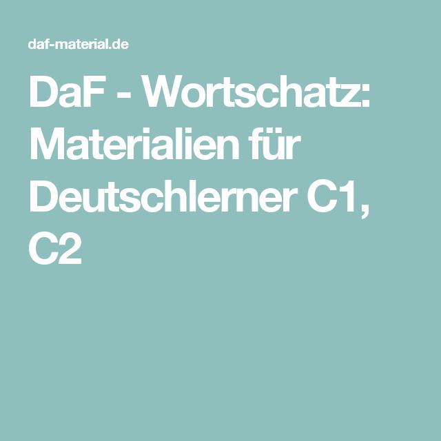 DaF - Wortschatz: Materialien für Deutschlerner C1, C2 | deutsch ...