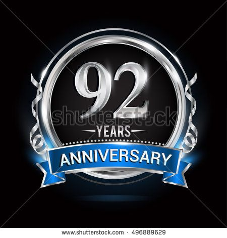 Logo celebrating 92 years anniversary with silver ring and blue ribbon.