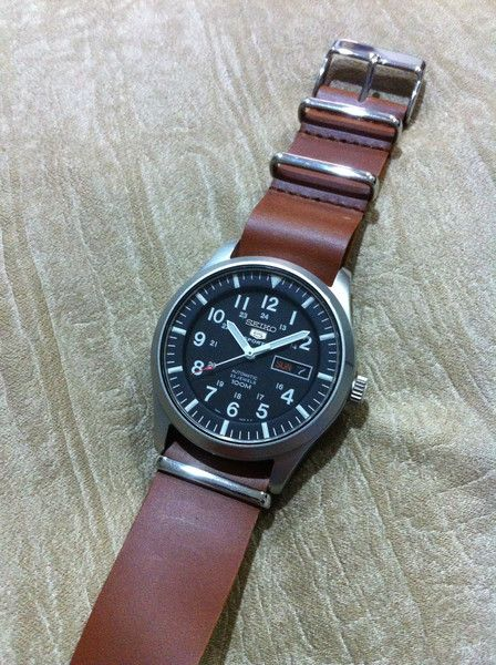 Seiko 5 on a leather NATO strap \u2013 Cheapest NATO Straps