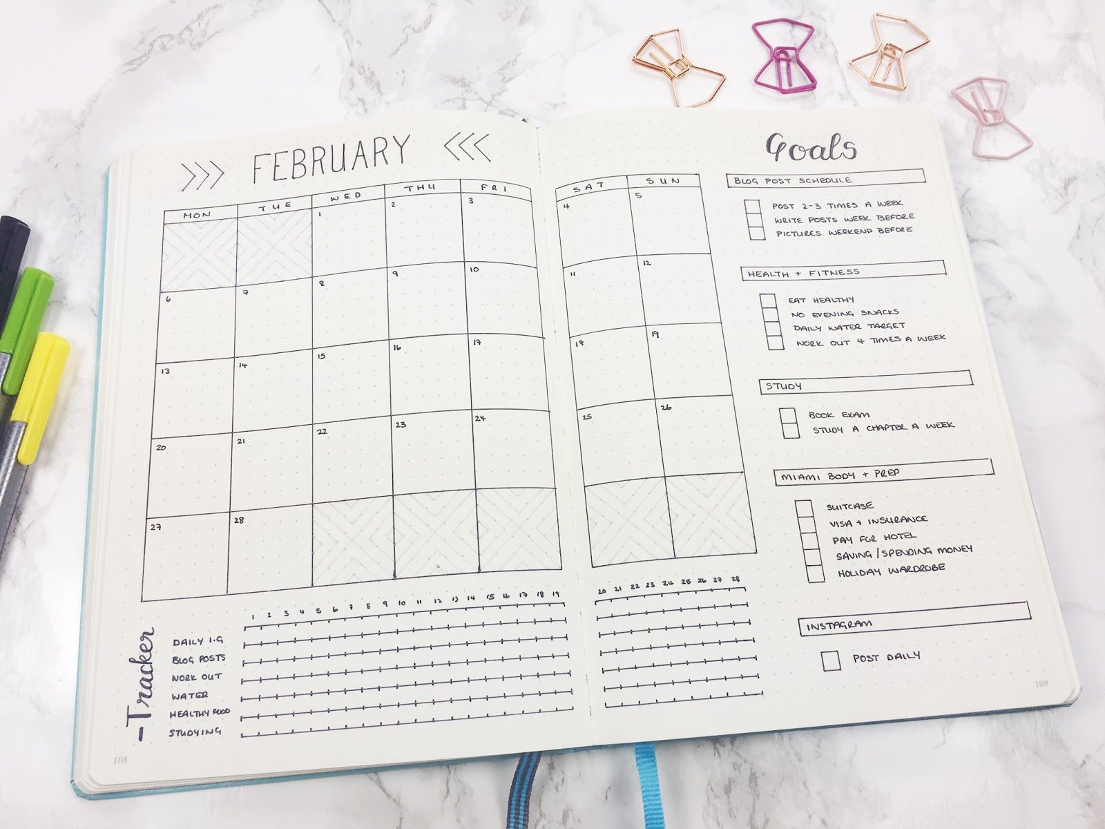 Monthly Template - calendar, goals, & tracker | Bullet Journal ...