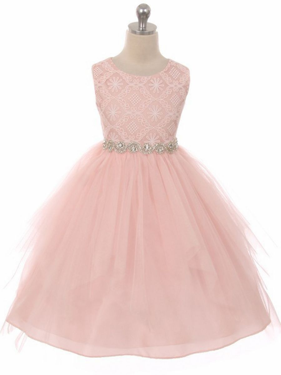 Good Girl 3573 Blush Pink Sleeveless Lace Contrast Double Tulle ...